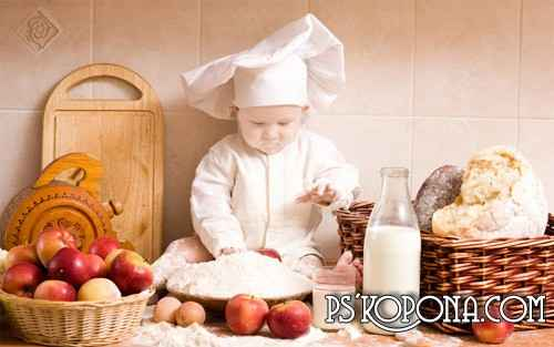 Children's template for a photoshop - the small cook free download