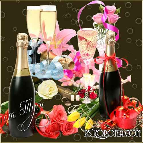 Free psd Clip Art - Night of happiness, champagne and flowers - 5