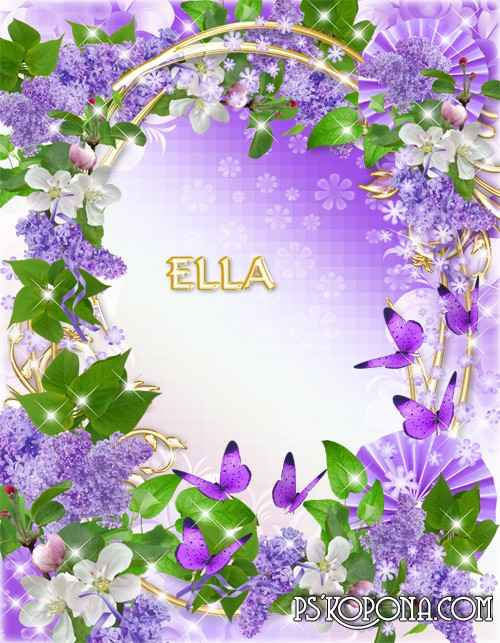 Flower Frame-Blossomed lilacs in May.