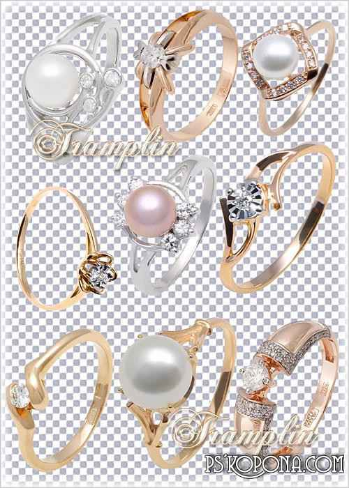 Gold and silver rings with diamonds and pearls - free 20 png images