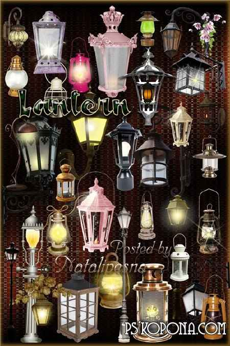 Clipart in PNG - Lamps of the night city