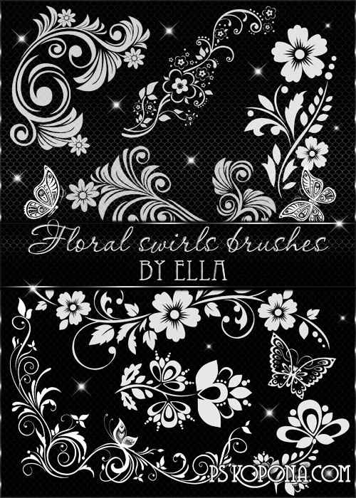 Decorative Floral Brushes for Design in Photoshop by ELLA