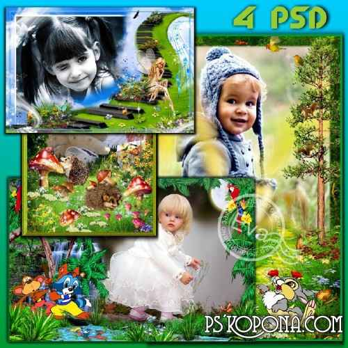 Collection child`s photo frames - Glade of the fairy tales