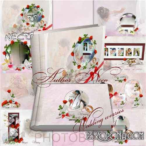Romantic wedding photo book template psd (cover and three reverse) - Wedding worries