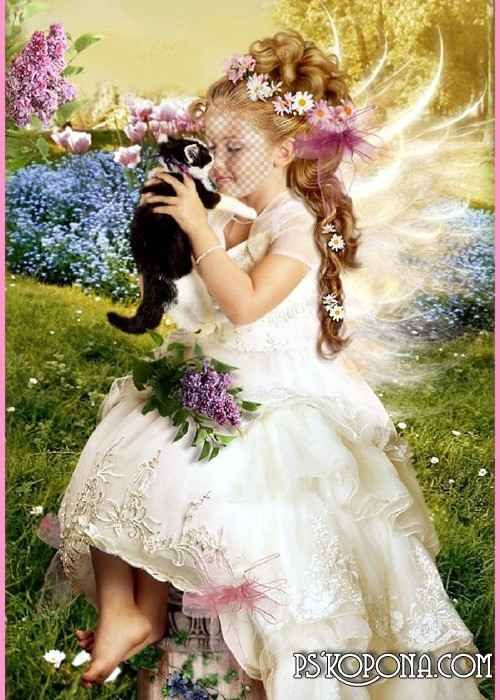 Child`s template for photo of the montage - The little girl with kitty free download