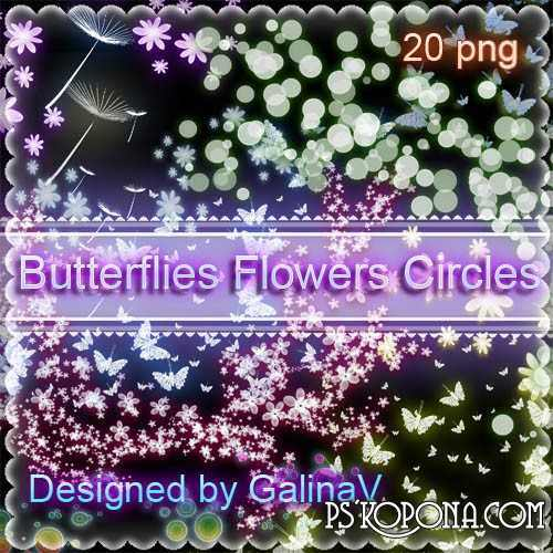 Butterflies, Flowers, Circles with shining effect - Clipart PNG for design