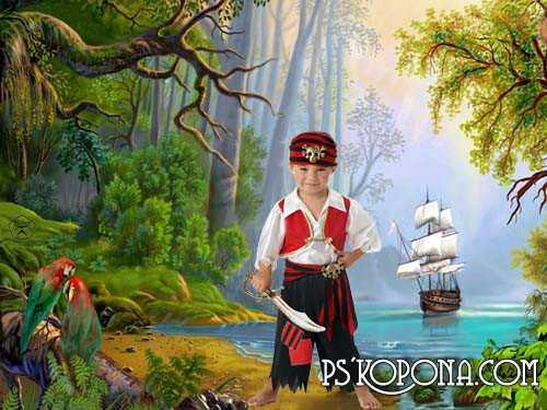 Kids psd templates - On the island of pirates
