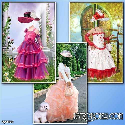 Templates for Photoshop girls - in the lush dresses and hats