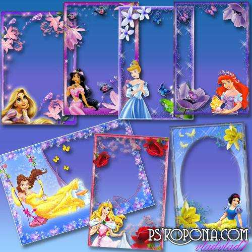 A set of Photoframes for girls - Disney Princess and flowers