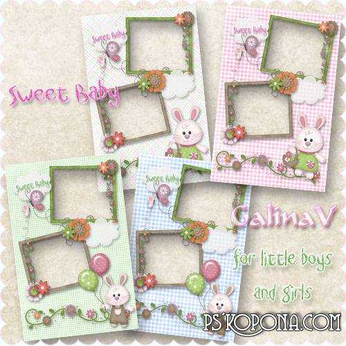 Kid's Frames for Photoshop Sweet Baby boy and girl free download