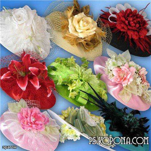 Hat clipart for photoshop - Hats with flowers