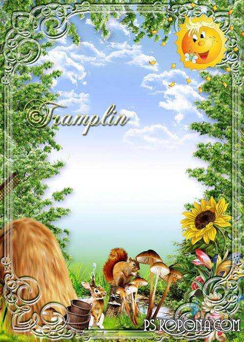 Summer Frame - Wood, sun, sunflower, squirrel and rabbit
