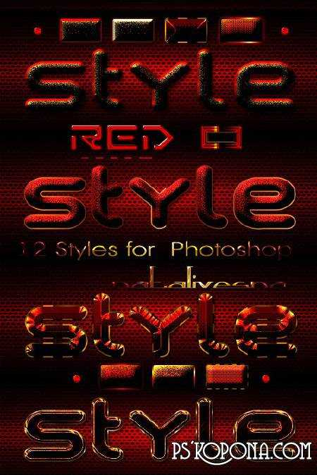 15 Red Styles for Photoshop