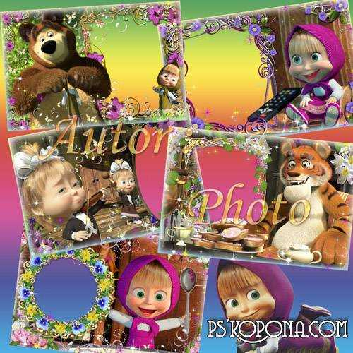 Children's frames with Masha free download - visiting The Teddy bear
