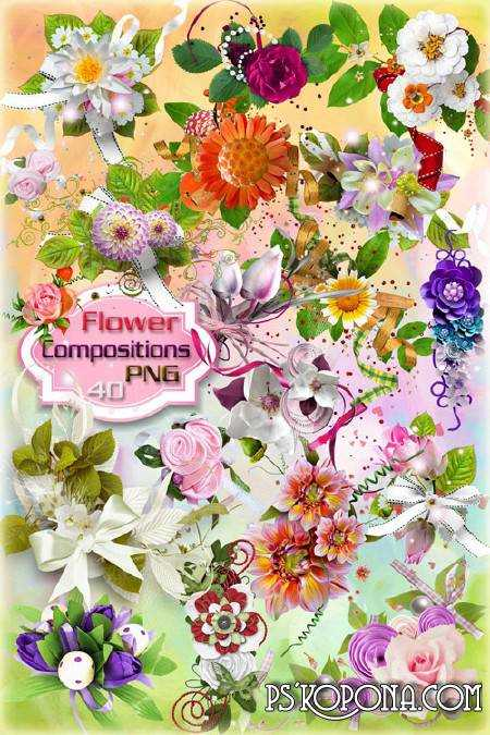 Clipart in PNG - Flower compositions on a transparent background