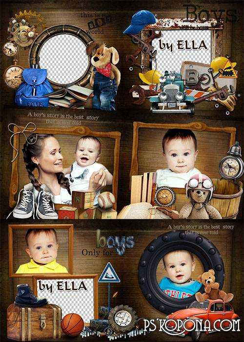 Beautiful photobook template psd for a little mischievous  -Boy's fantasy