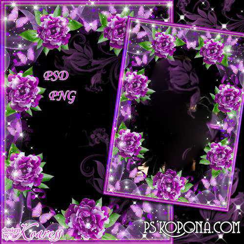 Romantic photo frame - Starry sky, flowers and butterflies