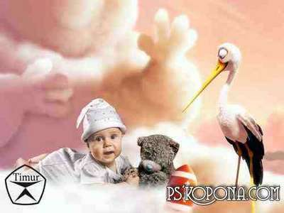 Children's template for Photoshop - Baby and Stork