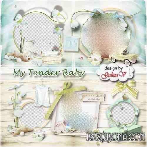 Photobook template psd for Newborns - My Tender Baby