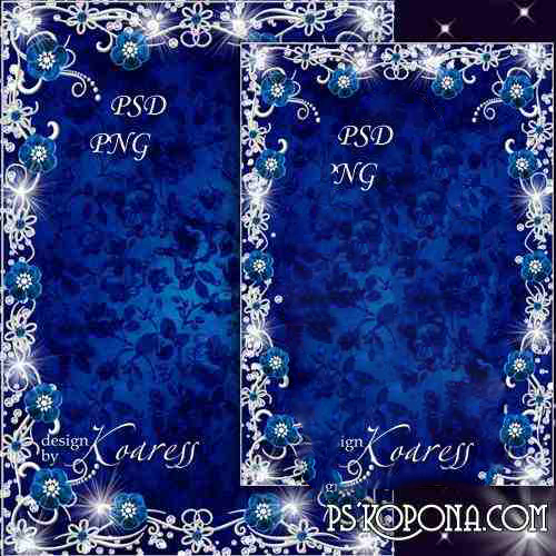 Glamorous photo frame - Sapphire in silver