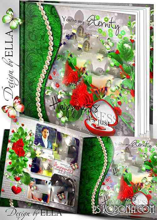Bright romantic photo book in the red-green color-Touching Moment