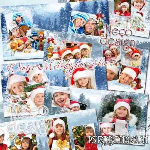 Christmas template photobook template psd - Winter Melody for violin