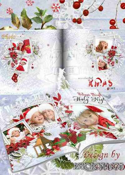 New year's photobook template psd - Merry Christmas