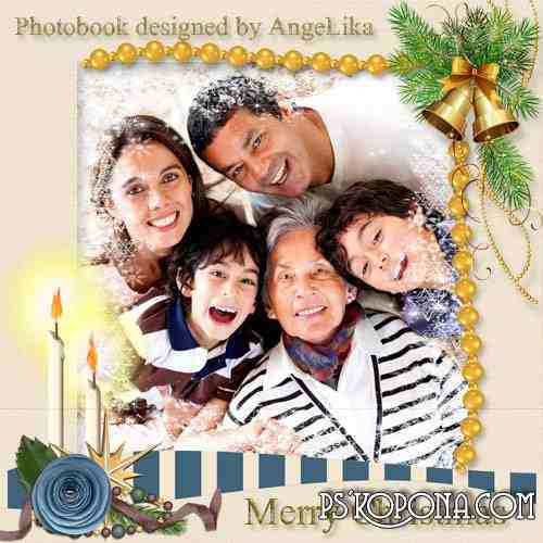 Christmas Photobook template psd - Family Holiday
