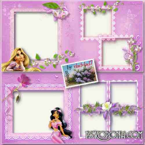 Children Photobook template psd with Disney Princesses and flowers