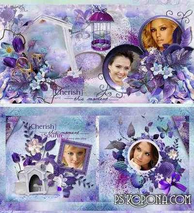 Romantic photobook template psd in purple tones