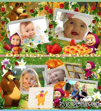 Baby colorful photobook template psd - Masha and the Bear