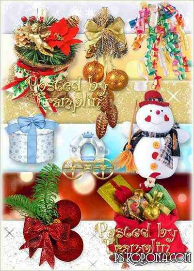 New Year clipart – Tinsel, fir-trees, bags with gifts, snowmen, toys