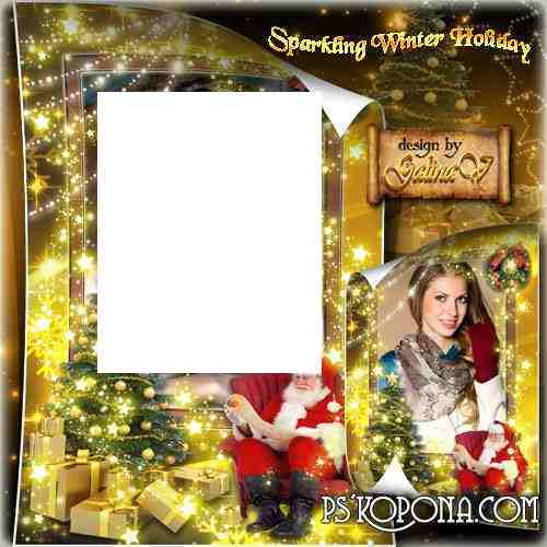 New Year Frame — Sparkling Winter Holiday