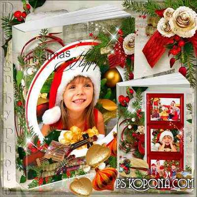 Beautiful photobook template psd for the whole family - Christmas melody