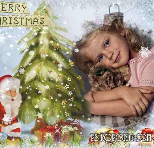 Frame for photo Christmas - magical holiday