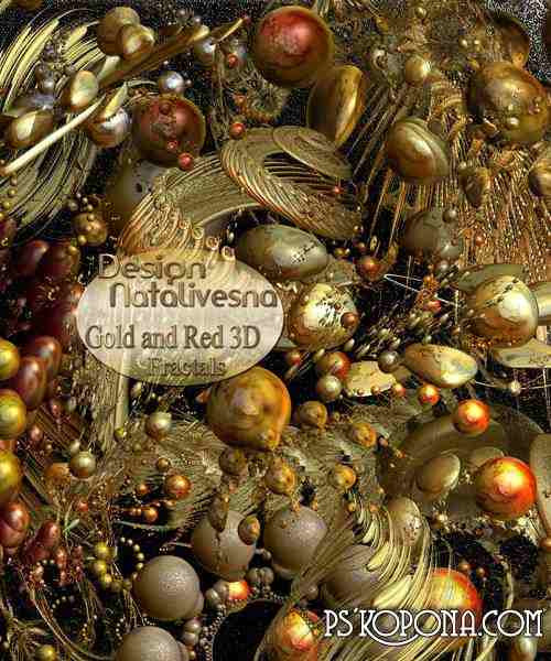 3D Fractals gold and red png images download