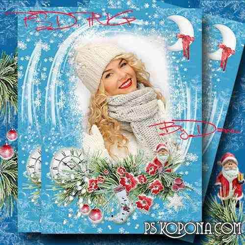Christmas, winter`s photo frame - What a pure, white snowflake