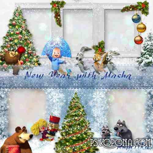 Kids photobook template psd - New Year with Masha