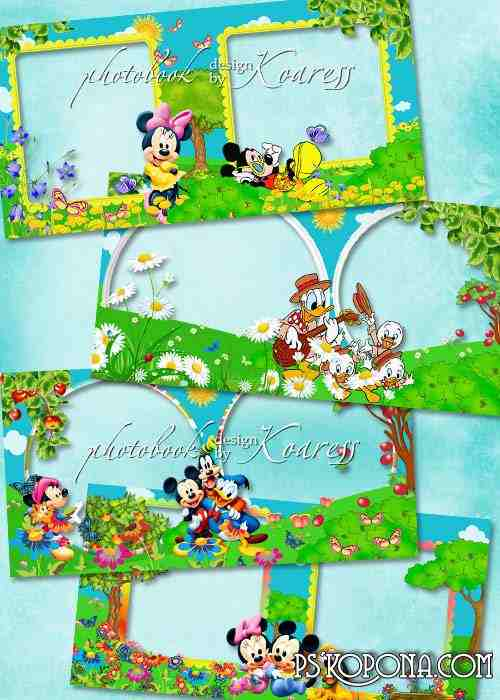 Baby photobook template psd with Disney cartoon characters - My summer Adventures