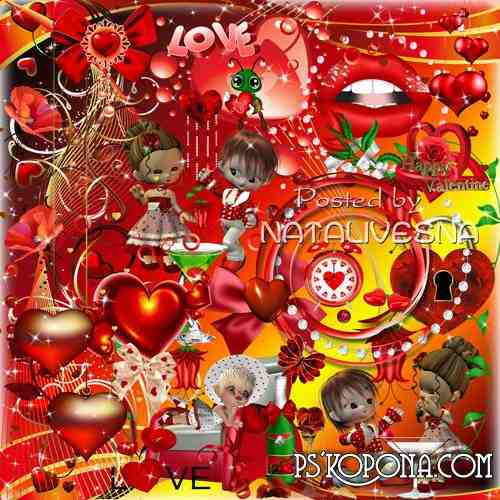 Clipart in PNG - Romantic hearts, dolls and bows