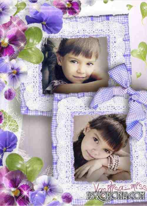 Flower frame - Violet flower fairy