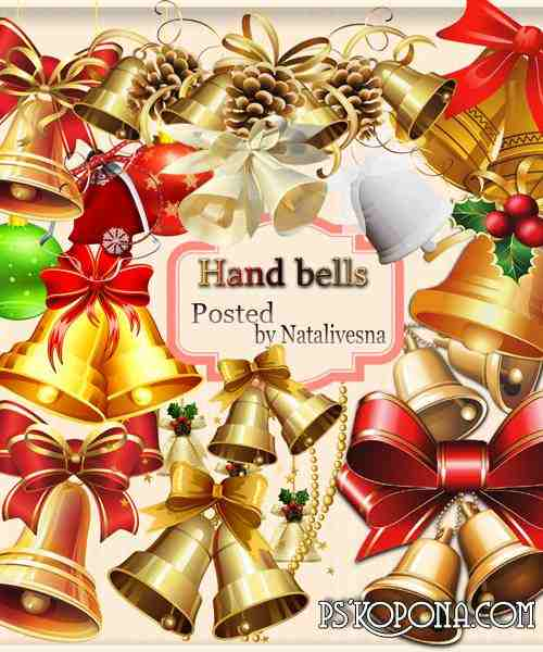 Clipart in PNG - Hand bells with bows
