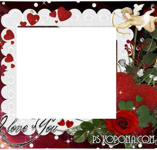 Romantic Frame - I Love You. Transparent PNG Frame, PSD Layered ...