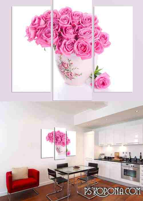 Triptych and polyptych in psd format - Vase with roses, pink roses, tea cup, tea