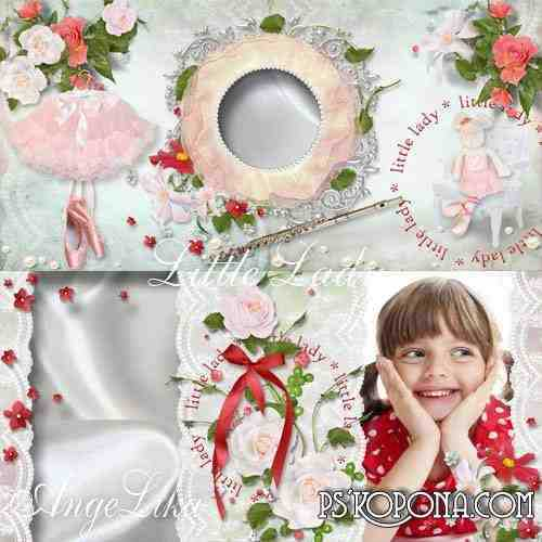 Photobook template psd for Girls - Little Lady