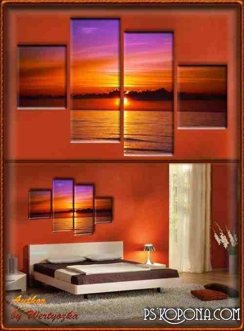 Polyptych in psd format - Landscapes, sea, sunset at sea