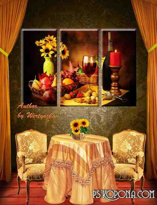 Triptych in psd format - Still life, fruit, berries, candles, glass, wine, sunflowers