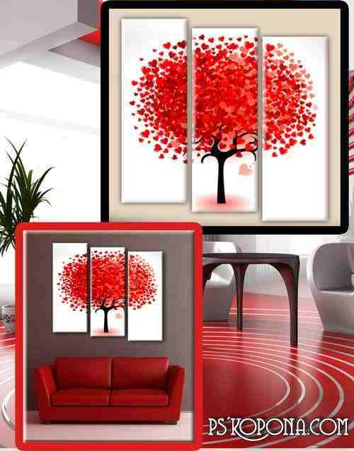 Triptych in psd format - tree with hearts, love, romance, love tree