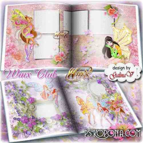 Cartoon Photobook template psd for Girls - Winx Club