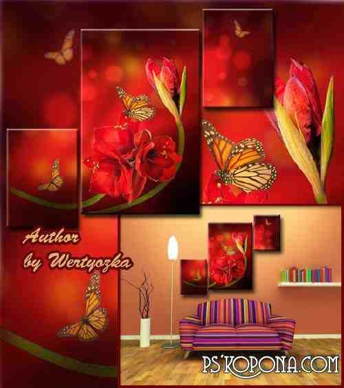 Multi-layered psd source triptych - Clivia, red flowers, butterflies